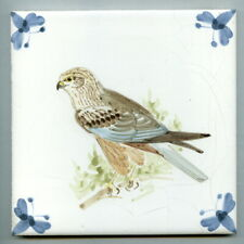 """Hand painted 6""""sq Studio tile by Connie Hutchings for Rye Tiles, 1982"""
