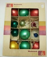 Vintage Glass Christmas Tree Ornaments - 12 in Original Box