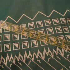 Vtg 70s polyester apparel fabric dark green abstract design birds tan 1 yard