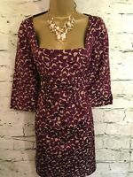 Hoss Intropia Ladies Purple Beige Silk Cotton Dress Size 42 UK 14 US 10