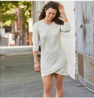 Athleta Gray Stripe Criss Cross Sweatshirt Dress 1X