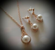 9K Rose Gold Filled Imitation Pearl Necklace Pendant & Earrings Set