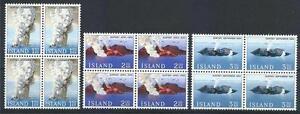 Iceland 1965 Sc# 372-74 set Surtsey volcano Islands blocks 4 MNH