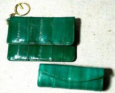 Vintage Emerald Green Eelskin Leather Change Purse w/ Keyring & Lipstick Holder