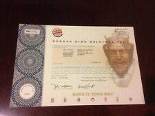 Burger King Holdings, Inc. Stock Certificate Excellent Condition