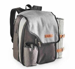 Ash Picnic Backpack for 2 Person Hamper Waterproof PEVA Lined Picnic Blanket