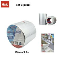 Set 3 Pezzi Rotolo Nastro Adesivo Di Alluminio Impermeabile 100mmx5mt hmj
