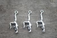25pcs Gymnastics Charms Silver Tone Double Sided Gymnast charm pendants 30x11mm