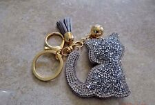 BEADED PUFFY GRAY SILVER CAT KEY CHAIN HELPS FERAL CATS KITTENS RESCUE CHARITY