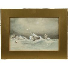 Traditional Victorian Antique Maritime Storm Seascape Watercolour Painting
