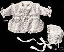 Vintage Antique Crochet PATTERN to make Baby Sacque Jacket Hat Bonnet MissDemure