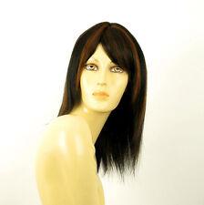 perruque femme 100% cheveux naturel mi-long méchée noir/cuivré IRINA 1b30