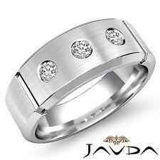 8mm Mens Half Wedding Band 3Stone Round Bezel Diamond Ring 14k White Gold 0.30Ct