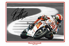 *MARCO SIMONCELLI* Large signed poster of late italian Moto GP star.