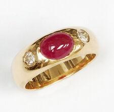 14k Cabochon Ruby & Diamonds Ring!  Vintage!