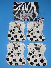 Lot of 4 Aunt Gertie Hand Painted Ceramic Coasters by Lynda Corneille Swak Nib