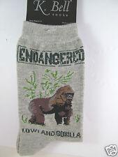 K.Bell Endangered Lowland Gorillas Charcaol Gray Ladies Womans Crew Socks New