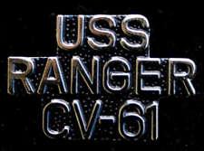 USS RANGER CV-61 SCRIPT HAT PIN CARRIER F-14 TOPGUN WOW