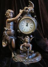 Bronze patinated small Mantel Cherub cupid Clock enamel rose baroque Insp Style