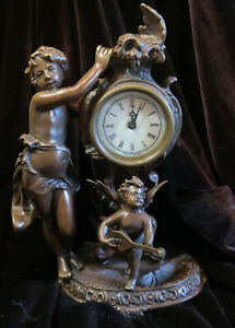 Bronze patinated small Mantel Cherub cupid Clock enamel rose baroque Insp Style