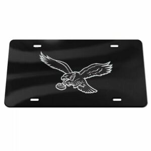 PHILADELPHIA EAGLES BLACK AND SILVER CRYSTAL MIRRORED CAR LICENSE PLATE NFL