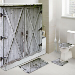 Taupe barn door Shower Curtain Toilet Cover Rug Mat Contour Rug Set