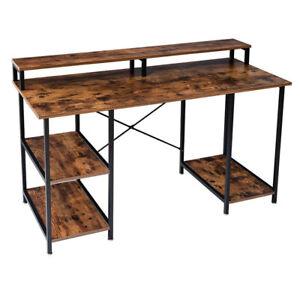 Large Computer Desk With Shelves Laptop Study PC Table Home Office Corner Desk