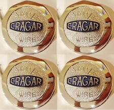 "SET OF 4 (FOUR) BRAND NEW CRAGAR STAR WIRE WHEEL ""CHROME"" CENTER CAPS"