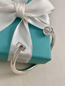 Tiffany & Co Sterling Silver Narrow Circle Edge Cuff Bracelet. Retired