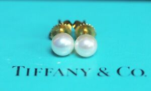 Tiffany & Co. 18k Yellow Gold 6mm Pearl Stud Earrings w/ Box & Pouch - Pristine