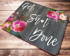 FUNNY Quote Get Sh*t Done Floral Watercolor Mouse Pad Office Desk Accessories