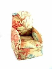 Vintage Miniature Boudoir ChairSewing Box Shabby Pink Chintz Print 1930s