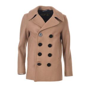 GLOVERALL Reefer Duffle Coat Tan Brown Wool Blend RRP £350 LJ