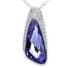 """Tanzanite & Pave Cz .925 Sterling Silver Pendant Necklace w/ 18"""" Rolo chain"""