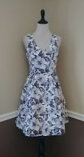 Cocktail Dress M White Gray Floral Fit & Flare Pockets Fabulously $129 Modcloth