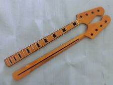 Electric Bass Guitar Neck yellow Replacement Maple Wood 20 Fret Repair parts 04