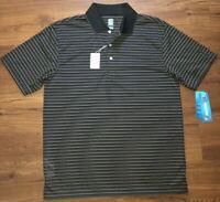 NWT PGA Tour Golf Cavier Striped Polo Collard S/S Sz Medium Polyester