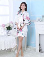 6a5e51ba02 Women Flower Silk Satin Robes Bridal Wedding Bridesmaid Bride Gown Kimono  Robe