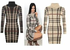 NEW LADIES WOMENS KNITTED LONG SLEEVES CHECK KNIT COWL NECK BODYCON DRESS JUMPER