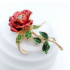 Crystal Rhinestone Rose Flower Brooch Pin Wedding Bridal Bouquet Garment Decor