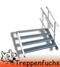 4 Stufen Stahltreppe mit einseitig. Geländer Breite 130 cm  Geschosshöhe 55-85cm