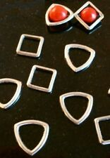 12 Antique silver plated bead frame finding links earrings, bracelets FPB030