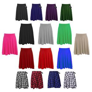 New Ladies Short Skater Skirt Womens Plus Size Plain Flared Elastic Waist 14-26