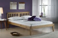 Salvador Bed - Wooden Antique Pine or White Wash, Single Small Double Bedroom