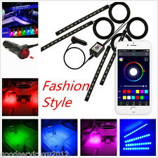 4In1 9-LED Multi-Color Car Footwell Atmosphere Decor Lights Wireless APP Control