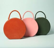 New!!Rare!! $1306 Mansur Gavriel Pink Circle Round Leather Suede Bag Tote Purse