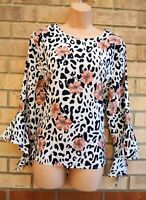 QUIZ WHITE BLACK PINK ANIMAL PRINT FLORAL FLARE LONG SLEEVE BLOUSE TOP SHIRT 18