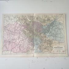 c1889 Birmingham British Isles Map Bacon Antique Vgc