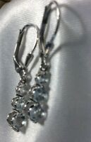 1 Ct, Aquamarine Dangle Lever Back Earrings, Platinum Over Sterling Silver