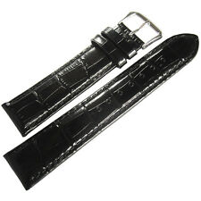 18mm deBeer Mens Black Crocodile-Grain Leather Matching-Stitch Watch Band Strap